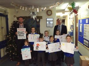 For Road Safety Week 2016 Mark Belfield of Thorneycrofts joined Headteacher James Twigg in judging and presenting awards to the children at Lane End Primary School, Cheadle Hulme.