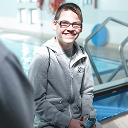 Liam at the swimming pool for his brain injury rehabilitation