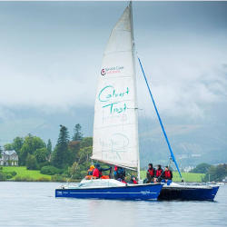 A sailing boat captained by people with brain injuries undergoing rehabilitation at Calverts Reconnections in the Lake District