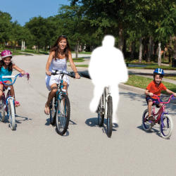 A family cycling but with the Father missing. The Mother is not wearing a cycling helmet, suggesting contributory negligence of the Father