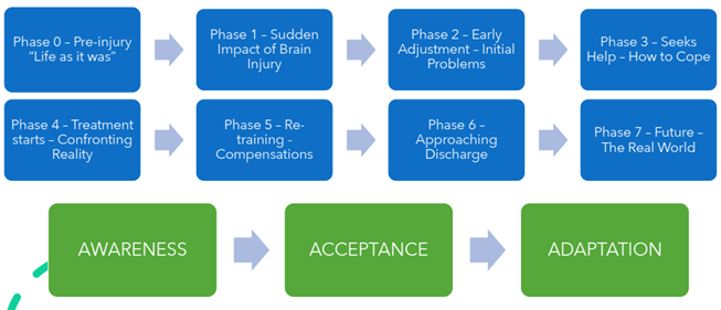 A chart showing practical and emotional processes for family members after brain injury