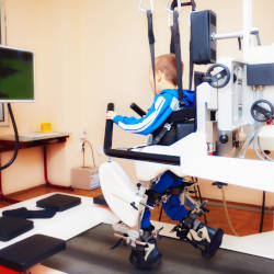A young brain injured man uses a sophisticated rehabilitation machine linked to a video game illustrating our disputes over rehabilitation webinar